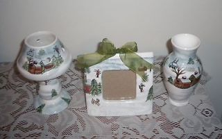 Piece Winter Scenery Set Vase, Picture Frame, Tea Light Holder New