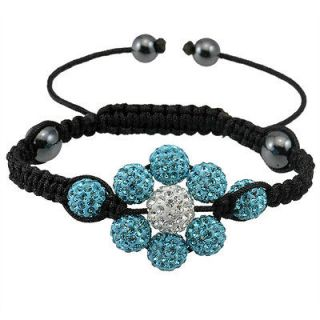 Sky Blue White Clay full of diamond beads woven bracelet flower shaped
