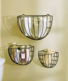 NEW Sets of 3 Metal Wire Wall Storage Baskets Black or Multi Colored