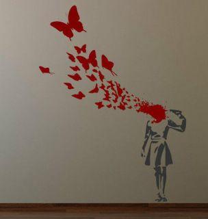 Banksy Suicide Butterflies Girl Wall Decal Sticker ! StreetArt Classic