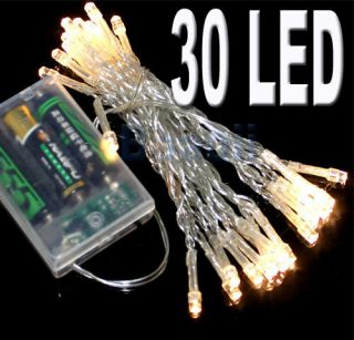 BATTERY POWER OPERATED 30 WARM WHITE LED MINI FAIRY LIGHTS CLEAR Xmas