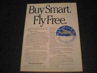 1992 Air Miles Free Air Travel Airlines Ad Buy Smart, Fly Free