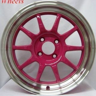 16X7 ROTA GT3 WHEELS 4X100 PINK RIMS ET40MM FITS 4 LUG HONDA FIT 2007