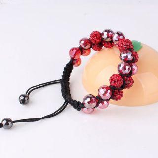 Shamballa Macrame red Swarovski Crystal wonderful women chic bracelet