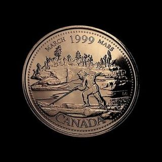 1999 Canadian Quarter MARCH LOG ROLLER PROOF LIKE MINT UNC BEAUTIFUL!