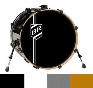 Bass drum shield logo sticker + initials. Pearl Sabian Gretsch Leedy