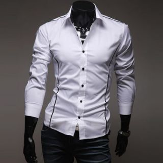 US New Mens Luxury Casual Slim Fit Stylish Dress Shirts 3 Colors 4