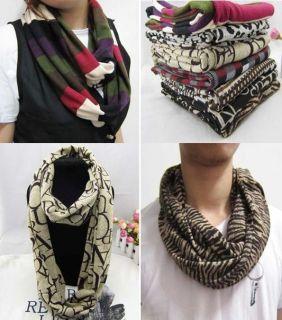 Mens Womens Unisex Knitted Loop Circular Trendy Scarf, Animal Prints