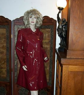 NEW Shiny Red vinyl raincoat Slicker PU Patent Leather Trench Coat