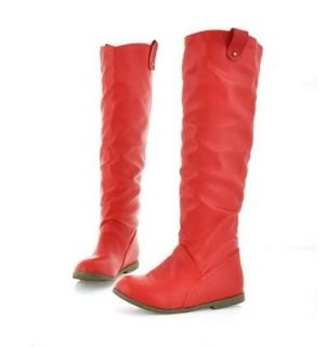 Fashion Lady Girl Women Flat Tall Pull Knee High Leather Boots 4