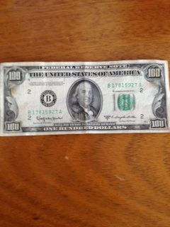 1950 D BENJAMIN FRANKLIN 100 DOLLAR BILL FEDERAL NOTE US CURRENCY