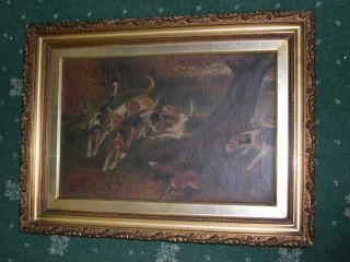 ANTIQUE DOG OIL PAINTING CANVAS FOXHOUND 1912 HUNTING