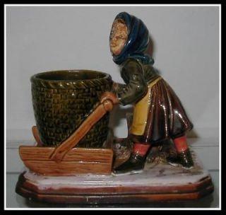 Signed Antique Majolica Pottery Figural Vase by Bernard Bloch NR