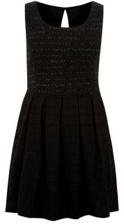 Ladies Plus Size Black Lace Detail Skater Dress #610