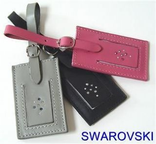 SWAROVSKI CRYSTAL LEATHER 3 PC LUGGAGE/TRAVEL TAGS NIB