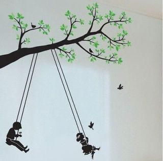 Kids Swing Tree Butterfly Mural Art Removable Decals Wall Sticker