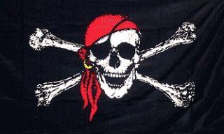 JOLLY ROGER PIRATE RED BANDANA FLAG BANNER SKULL CROSS BONES BIG 3X5