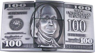 Silver 100 Dollar Bill Belt Buckle w Cigarette Lighter