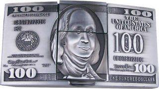 Silver 100 Dollar Bill Belt Buckle w Cigarette Lighter