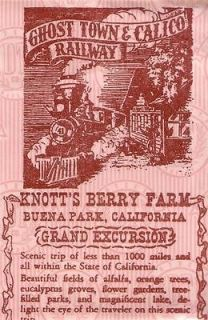 1957 Knotts Berry Farm Pair Of Tickets Calico Railway & Butterfield