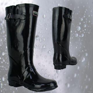 R2F Ladies Flat Black Wellington Boots Stylish Comfort Womens Shoes