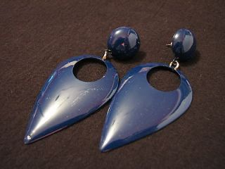 BIG Vintage Navy Blue Teardrop Door Knocker Dangle Pierced Earrings