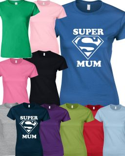 SHIRT SUPERMAN SUPERWOMEN Birthday Gift Mothers Day Present SUPER MUM