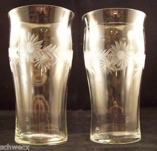 antique etched glass tumblers HARTMAN floral daisy leaf old rare