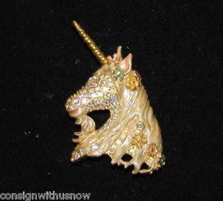 Kirks Folly Ophelia Gold Tone Jeweled Unicorn Brooch Pin New *