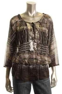 Daniel Rainn NEW Multi Color Printed Lined Sequined Front Blouse Tunic