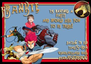 Deluxe Personalised New Thundercats Party invitations Birthday