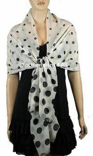 New Elegant White/Black Super Large 74x40 Polka Dot Fashion Shawl