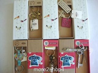 NWT Fossil Bird, Dog Tag, Heart , Bird Cage, or Bling Charm Key Fob of
