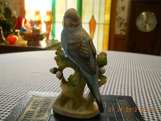 Lefton China Beautiful Blue Parakeet Bird Figurine KW464 Hand Painted