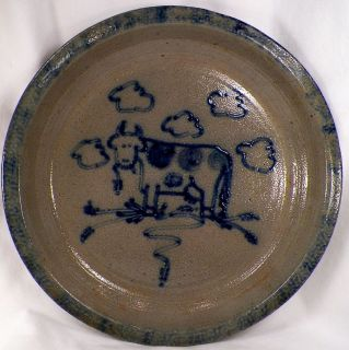 1988 MOO COW SALT GLAZE PIE PLATE Dave Eldreth Pottery GOOD COND