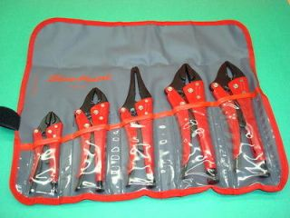 SNAP ON TOOLS BLUE POINT 5 pc. LOCKING PLIERS SET W/ KIT BAG NICE