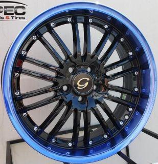 LINE G820 WHEEL 5X100 +38 BLACK BLUE RIM FITS CELICA COROLLA MATRIX
