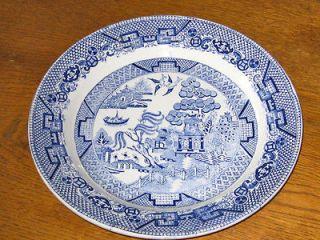 Antique Staffordshire BLUE WILLOW Dinner Plate CHARLTON transferware