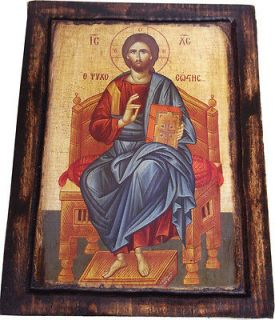 Jesus Christ   Blessing   Enthroned   Orthodox Byzantine icon on wood