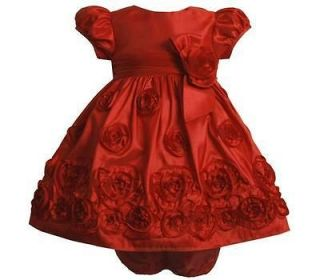 Bonnie Jean Baby Girls Red Taffeta Christmas Party Holiday Pageant