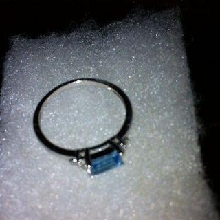 Plat/.925 London Blue Topaz, Diamonds Ring , Size 7
