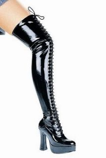 CORSET CLUB WEAR GOTHIC PLATFORM THIGH HIGH BOOT CHUNKY 5 HEELS