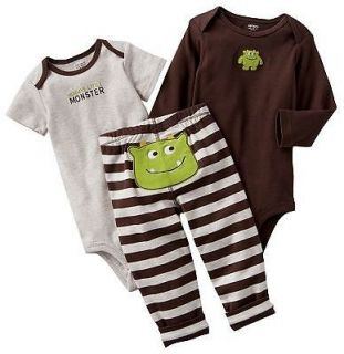 NWT Carters Baby Boy Clothes Set 2 Bodysuits Pants Brown Monster 3 6 9