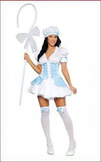 5p. Lil Bo Peep Adult Womens Halloween Costume Party Dress with Sheep