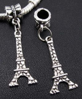 silver Eiffel Tower dangle European beads fit Charm bracelet f79