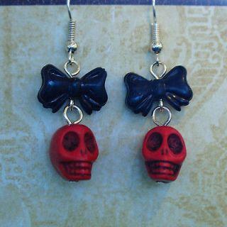 skull bow earrings in Earrings