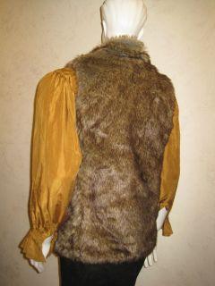 HALLOWEEN Realistic Gray&Brown Wolf FauxFur UNISEX Vest TUDOR, GAME OF