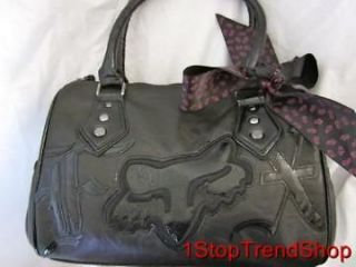 NWT Fox Racing Co girls Born Free foxhead logo handbag purse black