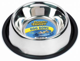 STAINLESS STEEL NON SLIP DOG CAT PET BOWL PETS DOGS CATS 14CM RUST