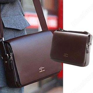 Mens Crossbody Shoulder Messenger Bag Briefcase Brown M Horizontal